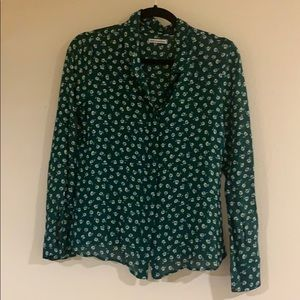 Reformation green button up blouse